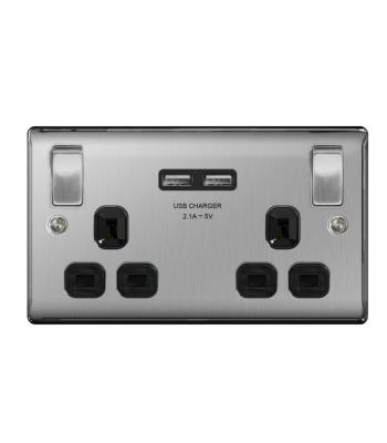Bg 2 Gang 13amp Switched Socket With Outboard Rockers + 2 x USB (2.1A)