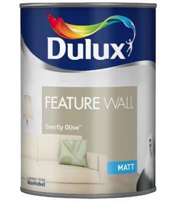 Dulux Paint Feature Wall Matt Emulsion 11 Colours Overtly Olive 1.25 Liter