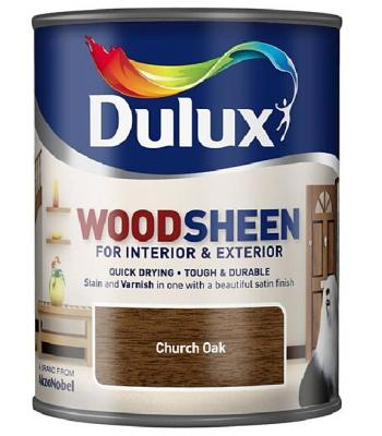 Dulux Wood Sheen Interior and Exterior Wood Stains and Varnish Church Oak750ml
