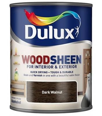 Dulux Wood Sheen Interior and Exterior Wood Stains and Varnish Dark Walnut 750ml