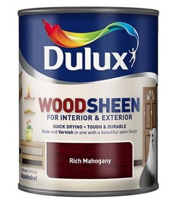 Dulux Wood Sheen Interior and Exterior Wood Stains and Varnish Rich Mahogany750ml