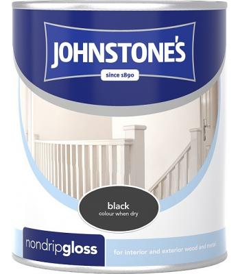 Johnstone's Non Drip Gloss Paint for Wood and Metal Black 250 ml