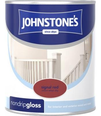 Johnstone's Non Drip Gloss Paint for Wood and Metal Signal Red 250 ml