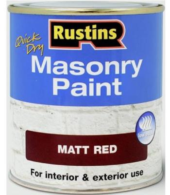 Rustins Quick Dry Masonry Paint Low Odour available in 4 Colours 250 ml Matt Finish