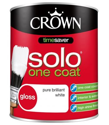 Crown Solo One Coat Gloss Paint Pure Brilliant White 750ml Time saver