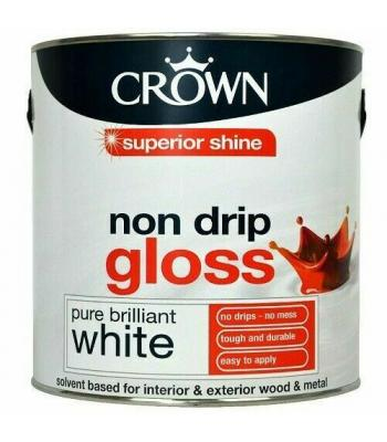 Crown Non Drip Gloss Pure Brilliant White for Wood and Metal Interior and Exterior use 750ml