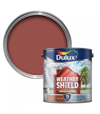 Dulux Weather Shield Smooth Masonry Paint 2.5 Litre Brick Red for Exterior Walls
