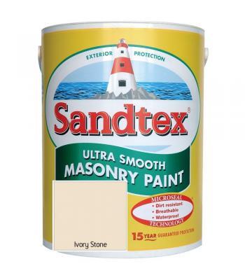 Sandtex Ultra Smooth Masonry Paint Microseal Technology 5 Litre Ivory Stone