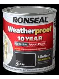 Ronseal Weatherproof 10 Year Exterior Wood Paint Gloss 2.5L Black