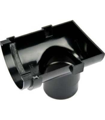 112 mm Half round outlet stop end black