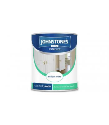 Johnstones Onecoat Quickdry Satin For Interior Wood and Metal  Pure Brilliant White 1.25