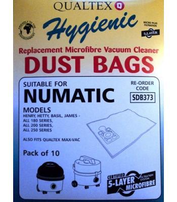 Numatic Harry AS200 Microfibre Vacuum Cleaner Dust Bags Pack of 10