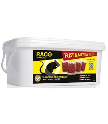 Raco Grain Bait and Mouse Bait Sachets 48 x 25 gram Mouse and Rat Poison
