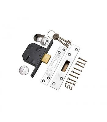 Yale 3 lever Deadlock 64 mm Polished Chrome