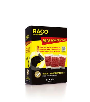 Raco Grain Bait and Mouse Bait Sachets 24 x 25 gram Strong Rat and Mouse Killer RACO 1082