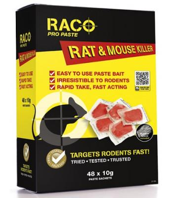 Raco Pro Paste Rat and Mouse Killer Targets Rodents Fast 48 x 10 gram Sachets