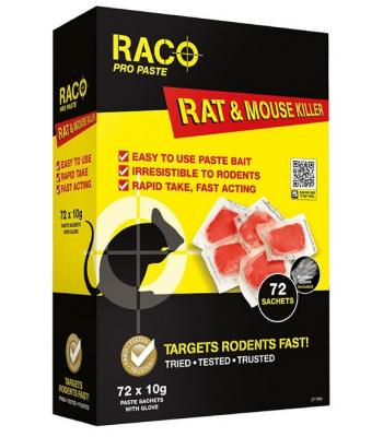 Raco Pro Paste Rat and Mouse Killer Targets Rodents Fast 72 x 10g Sachets