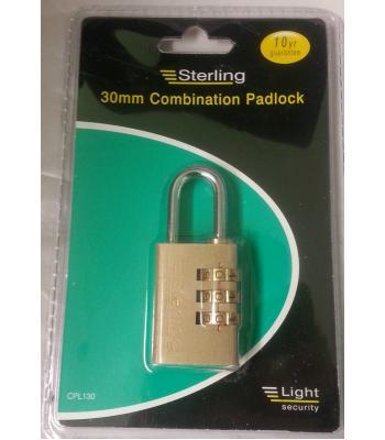 Sterling 30mm Combinaiton Pad Lock