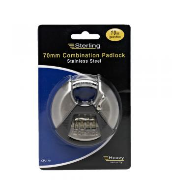 Sterling 70mm Combination Padlock Stainless Steel