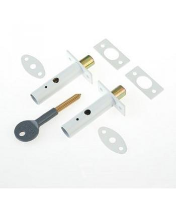 2 x YALE DOOR SECURITY BOLTS  WHITE FINISH 1 KEY + 2 bolts